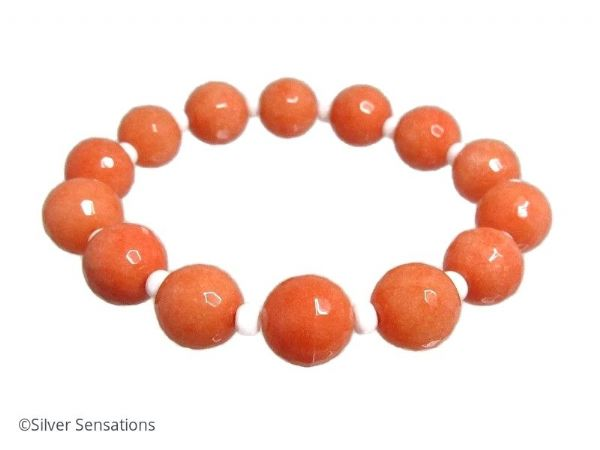 Chunky Faceted Peach Orange Jade & White Beaded Stretch Fashion Bracelet | Silver Sensations